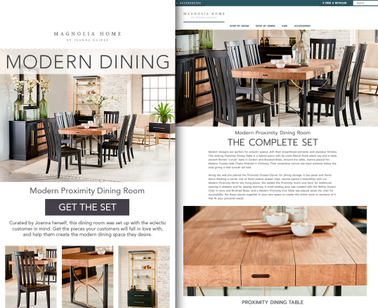 eBlast and Landing Page for Magnolia Home by Joanna Gaines B2B Marketing