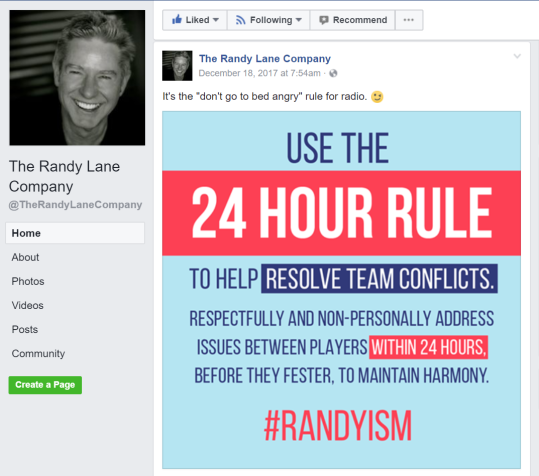 Example of a Social Media Graphic I Designed Used in a Facebook Post for The Randy Lane Company