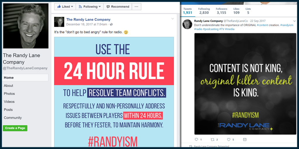 The Randy Lane Company Social Media Graphics